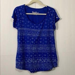Lucky Brand button tab sleeved Blue Large